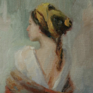 """""""The Red Shawl"""" 9"""" x 12"""" oil on canvas."""
