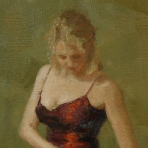 """""""The Red Dress"""" 9"""" x 12"""" oil on canvas."""
