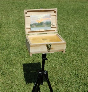 The completed Pochade box on a tripod.