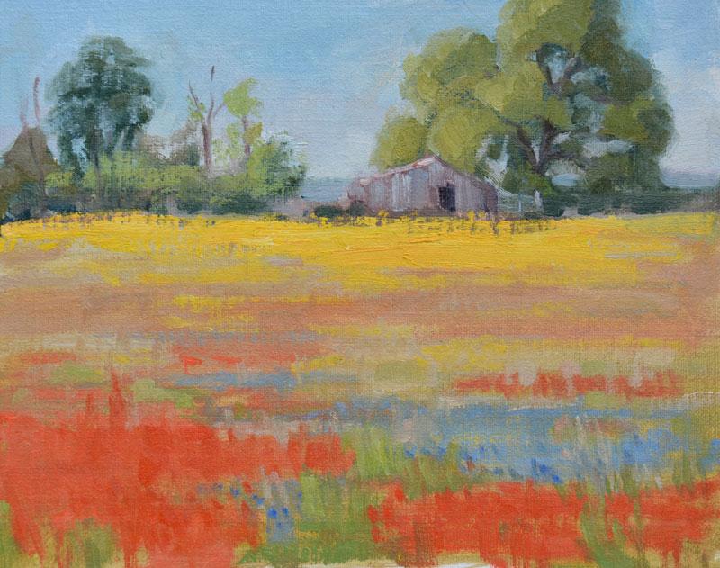 """Texas Wildflowers""  8""x10"" oil on canvas. $400 framed."