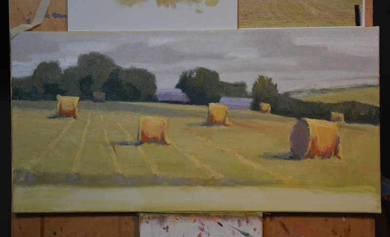 Final steps in creating a studio painting.