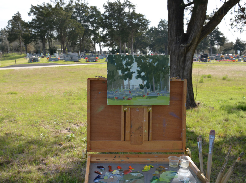 Painting the Chappell Hill Cemetery.