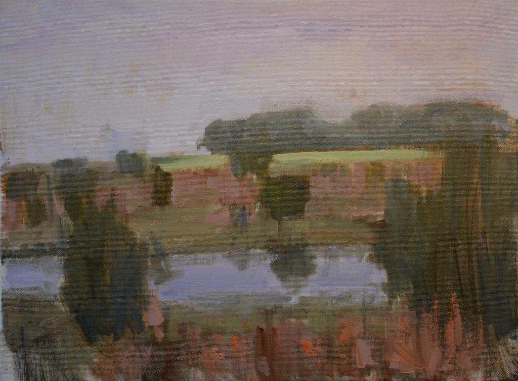 """""""Morning Pond"""" 12""""x16"""" oil on canvas. plein air. NFS."""