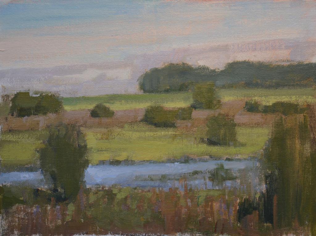 """Morning Pond"" 9""x12"" oil on canvas. Plein air."