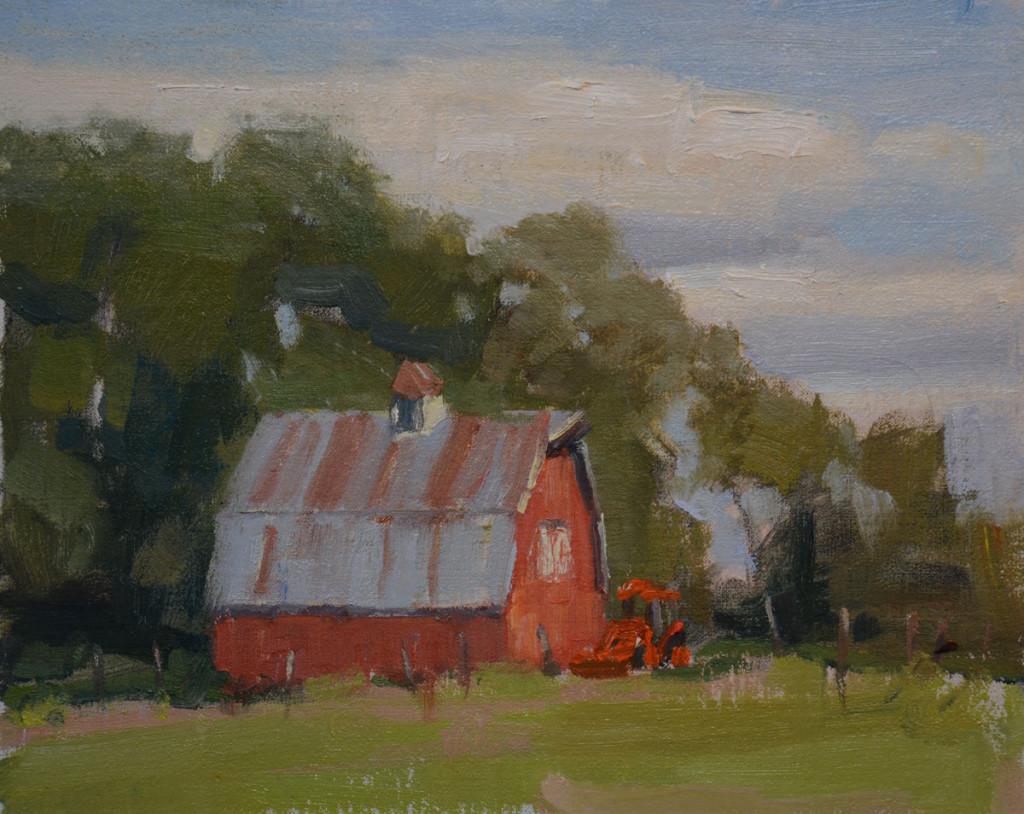 """""""Red Barn"""" 8""""x10"""" oil on canvas. plein air."""