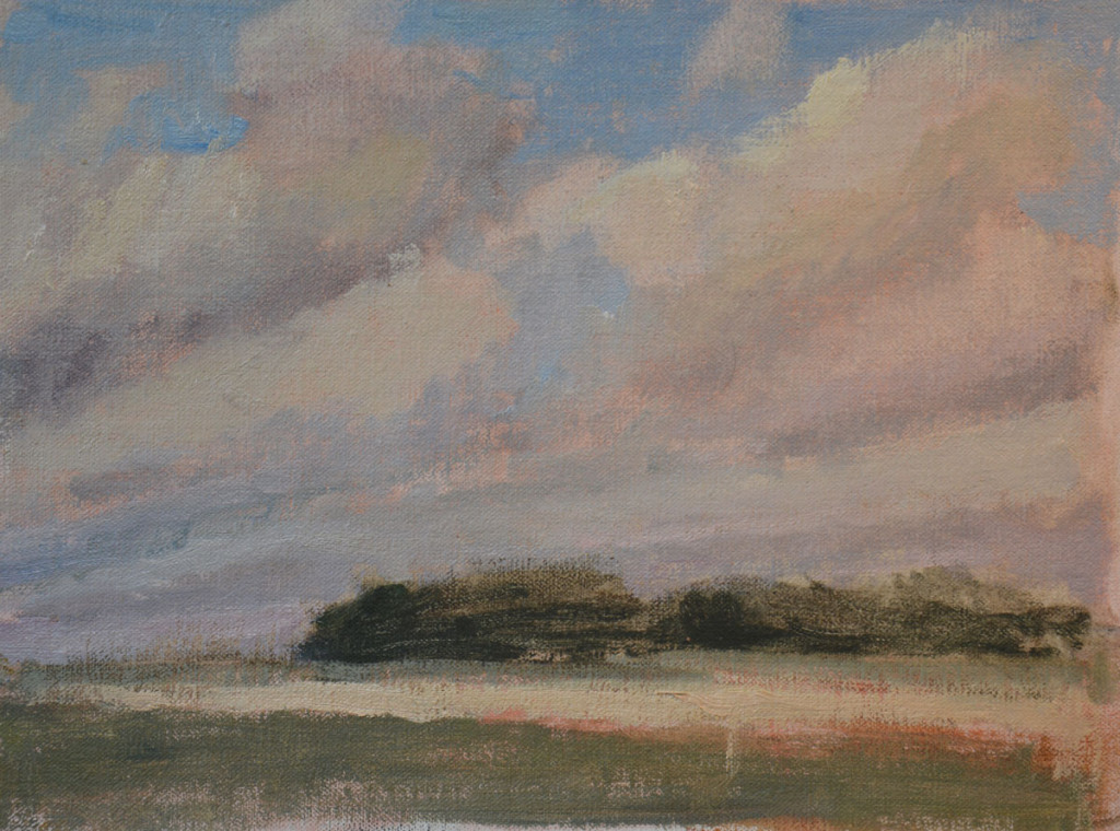 Impressionist sky plein air painting in oil.