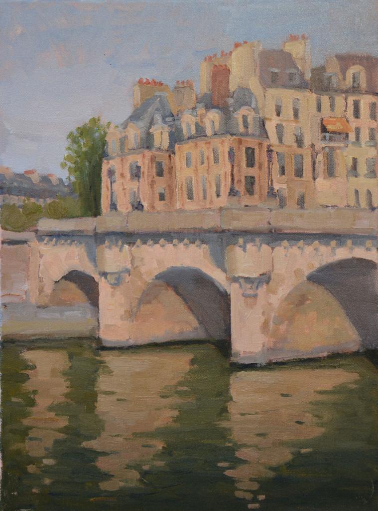 Painting Pont Neuf in Paris plein air.