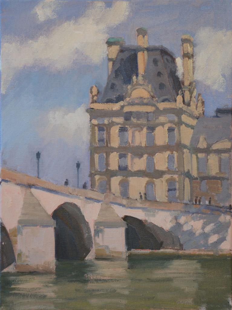 Painting Pont Royal in Paris plein air.