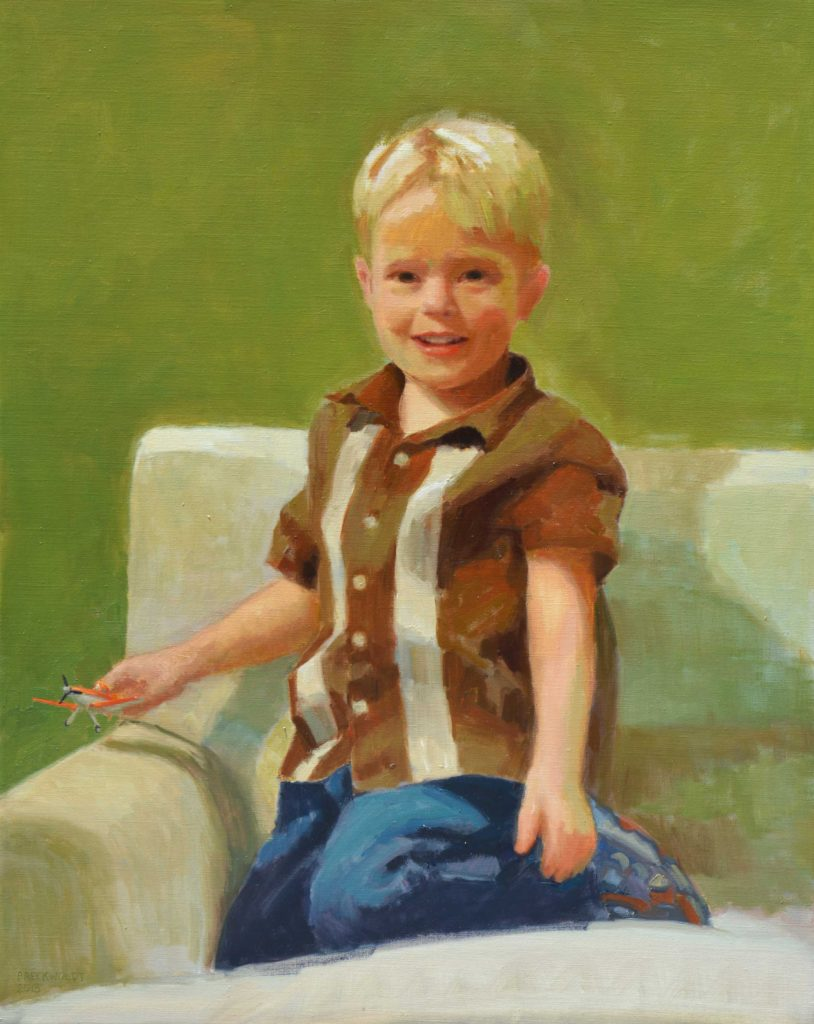 Portrait in oil of a young boy