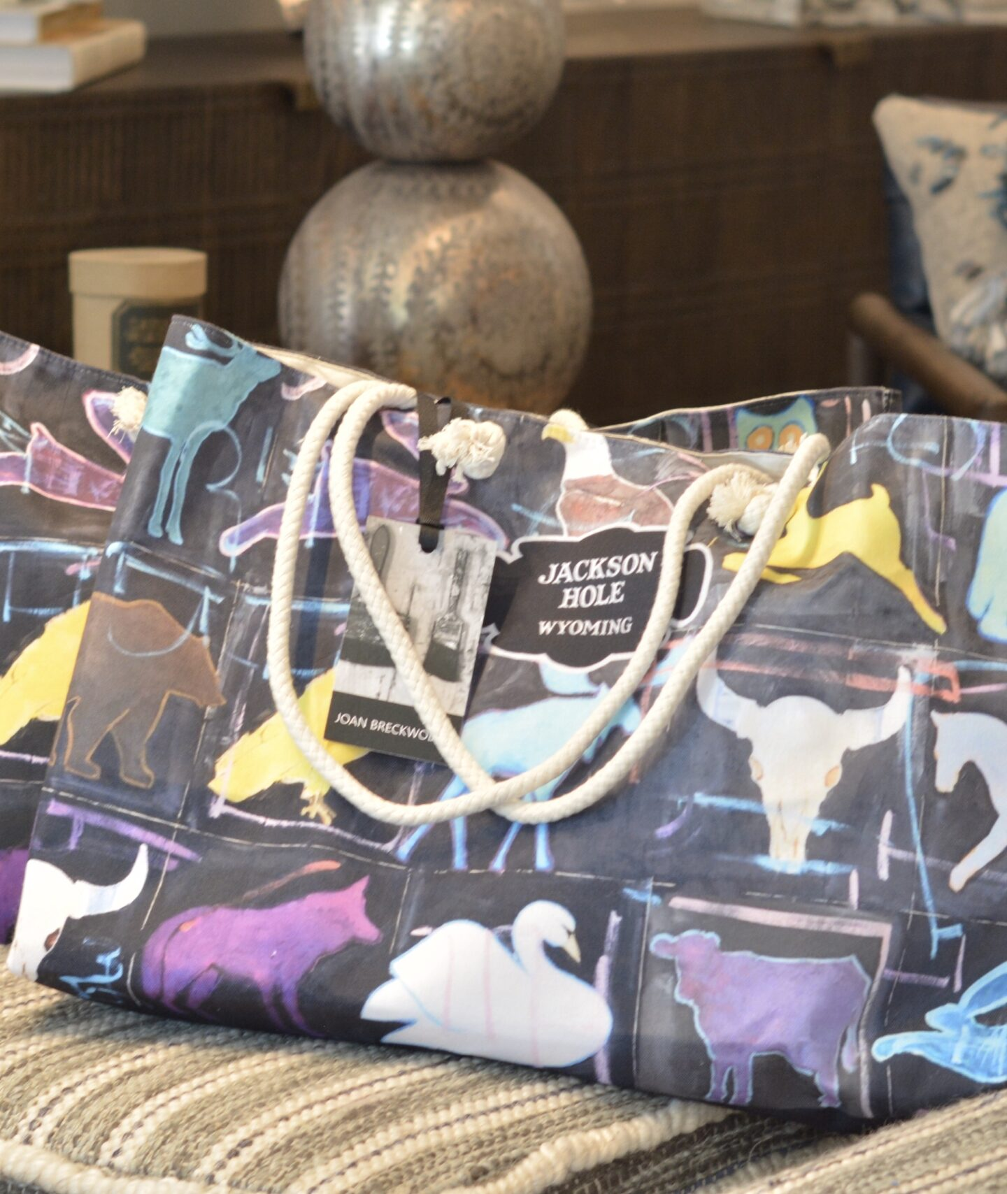My Jackson Hole tote bag in a store display!
