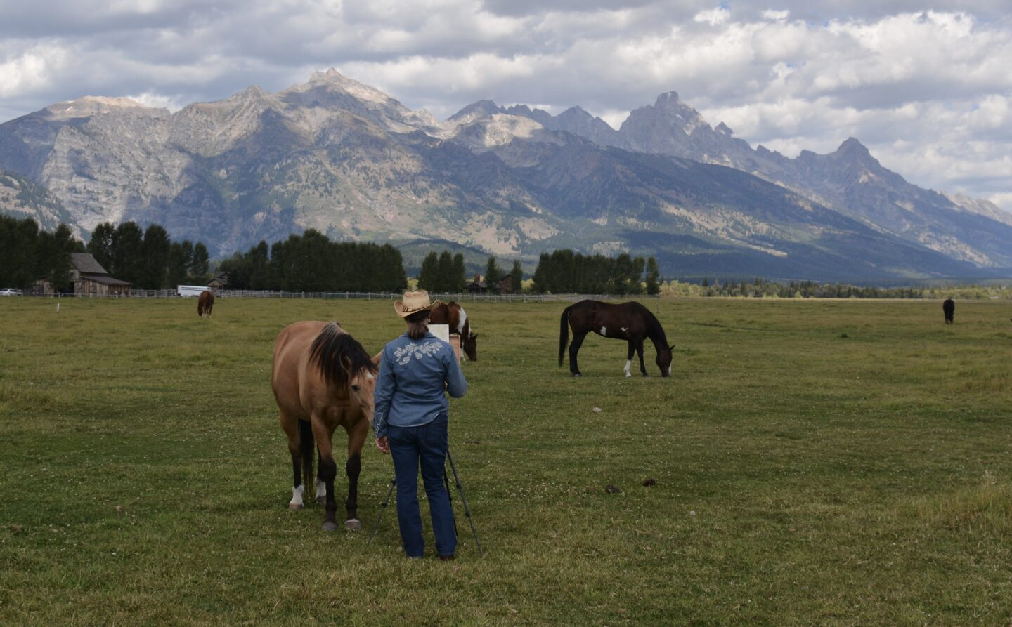 Painting horses in Jackson Hole, WY.