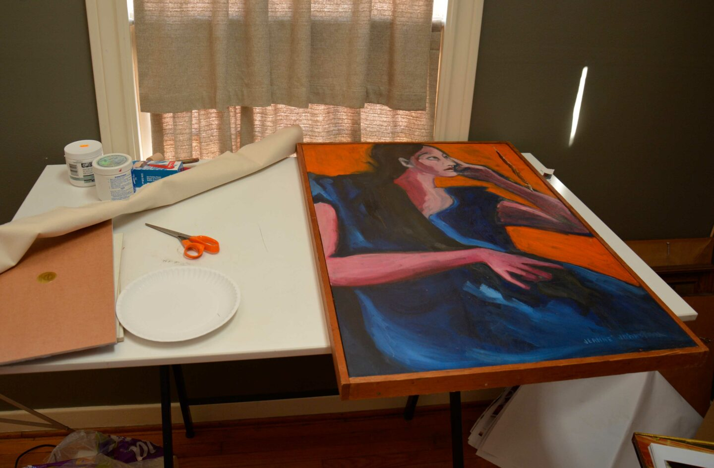 Tools to repair a damaged painting.