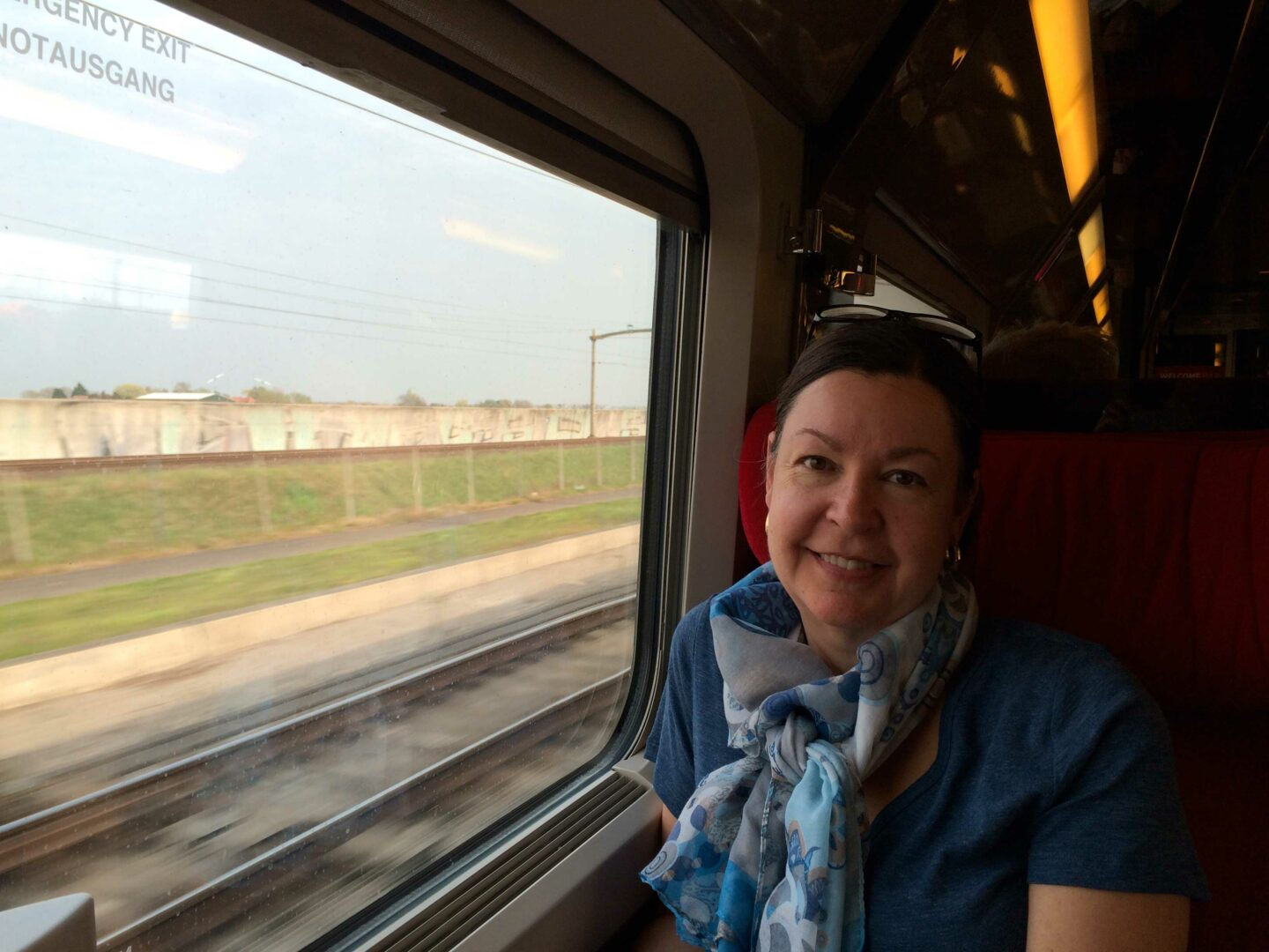 On the train from Paris to Amsterdam.
