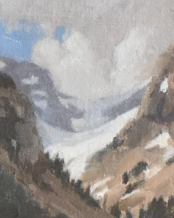 Close up of a mountain painting in oil.