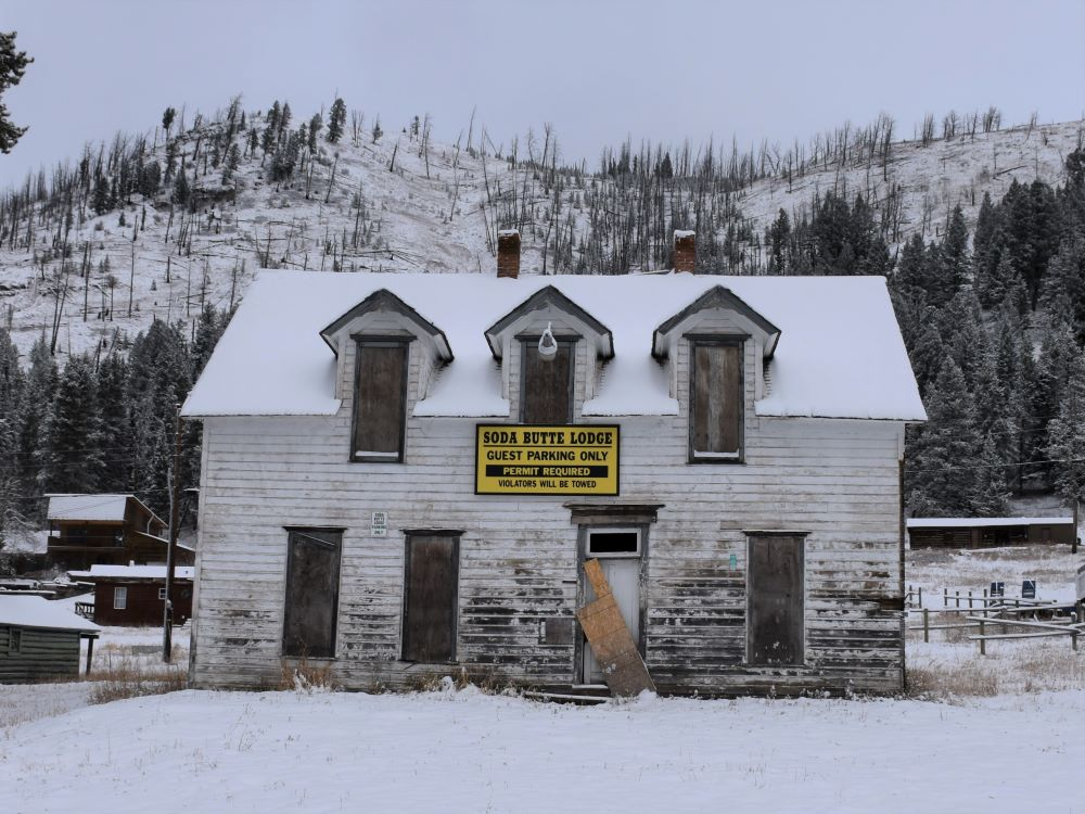 Abandoned brothel in the wolf watching town Cooke City, Montana