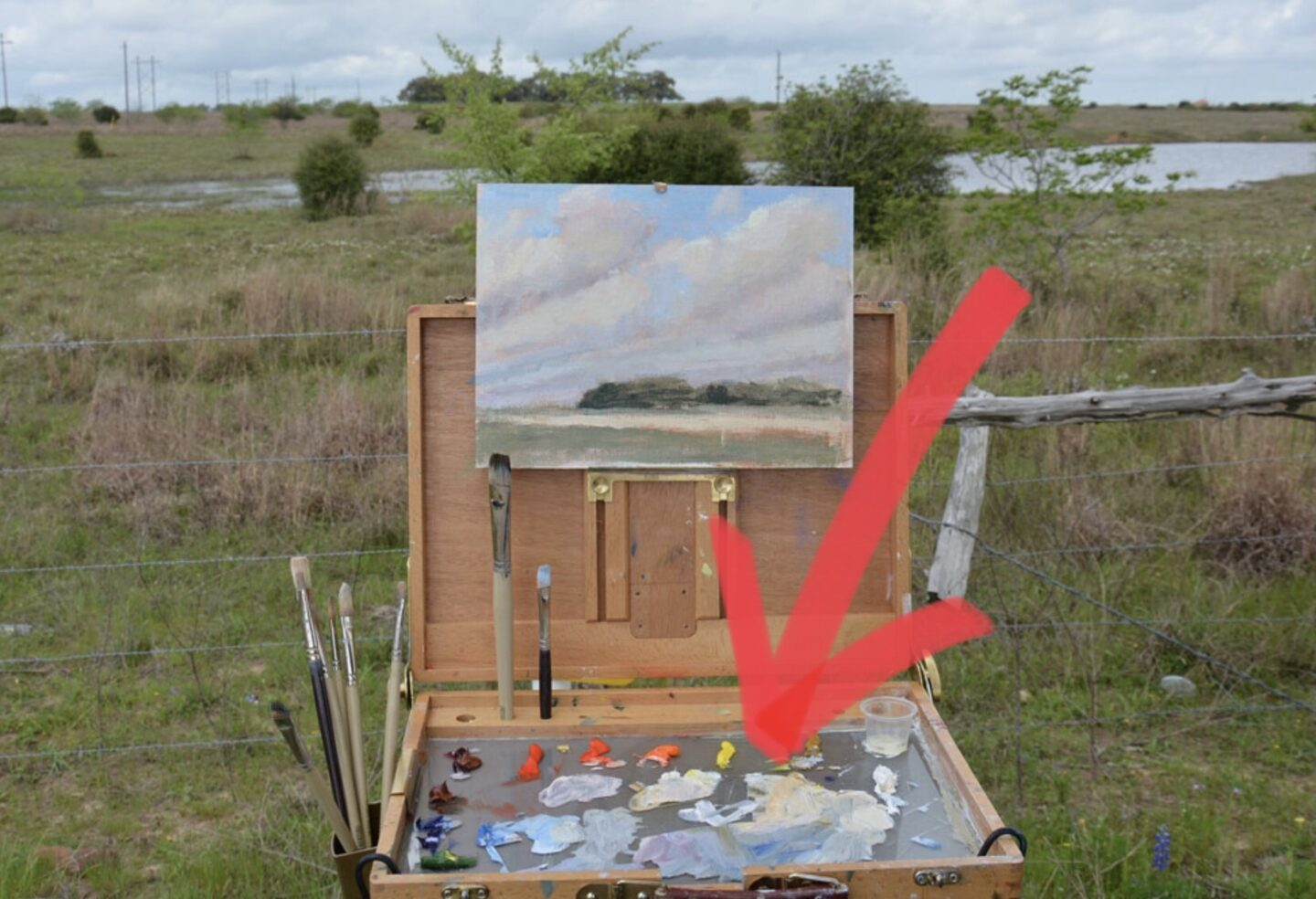 Plein air painting with a glass palette
