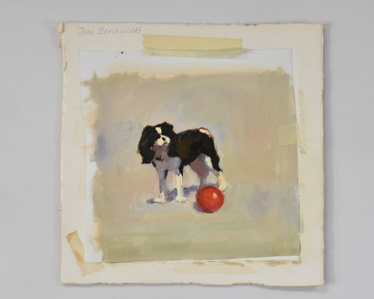 unstretched dog canvas painting