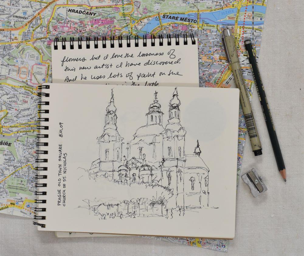 Prague Old Town Square drawing