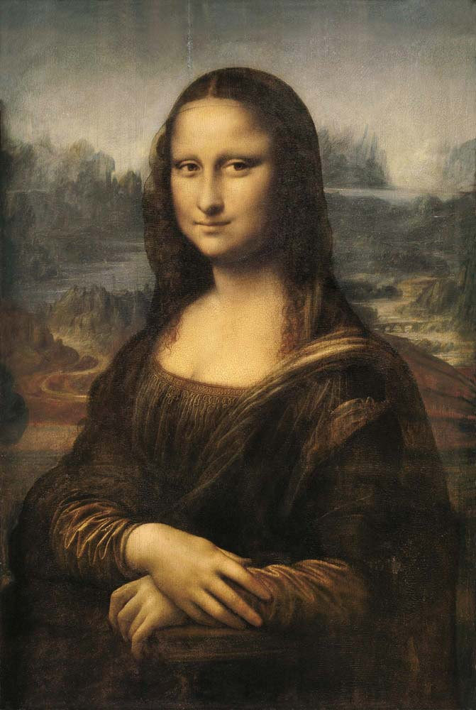 Mona Lisa by Leonardo da Vinci on wood panel painting