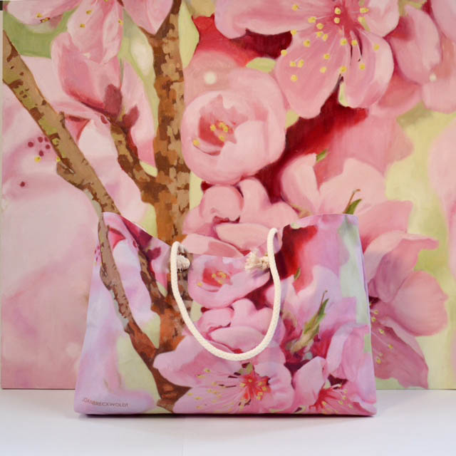 Cherry blossom oil painting and cherry blossom tote bag